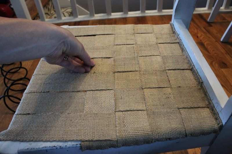 Continue weaving and attaching jute webbing strips