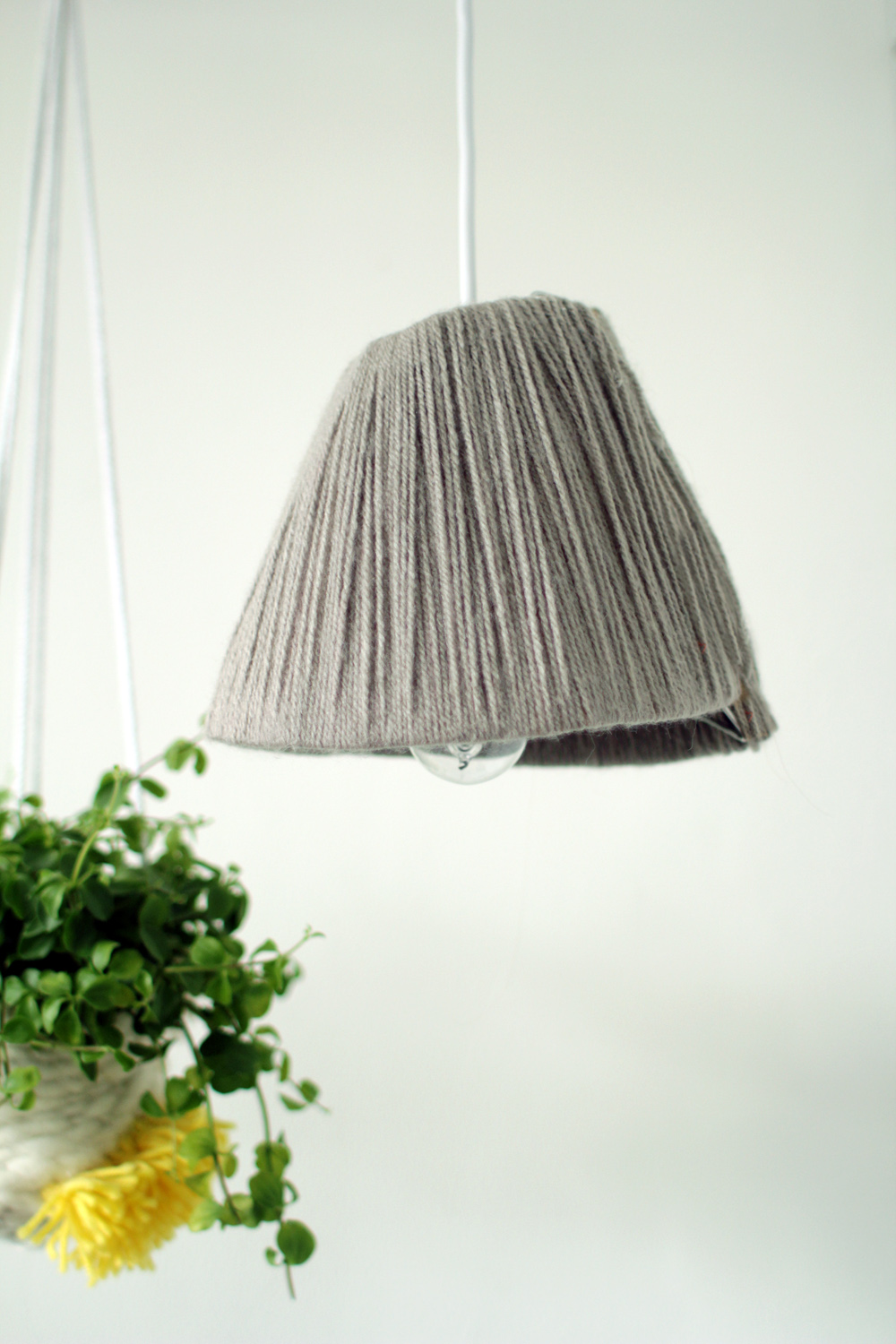 Yarn wrapped lampshade 23