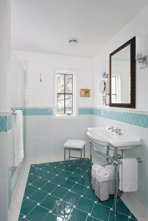 20 functional stylish bathroom tile ideas for White and blue bathroom ideas