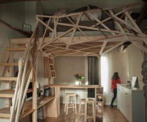 Parisian Micro-Apartment Optimized Through A Wooden Sculpture