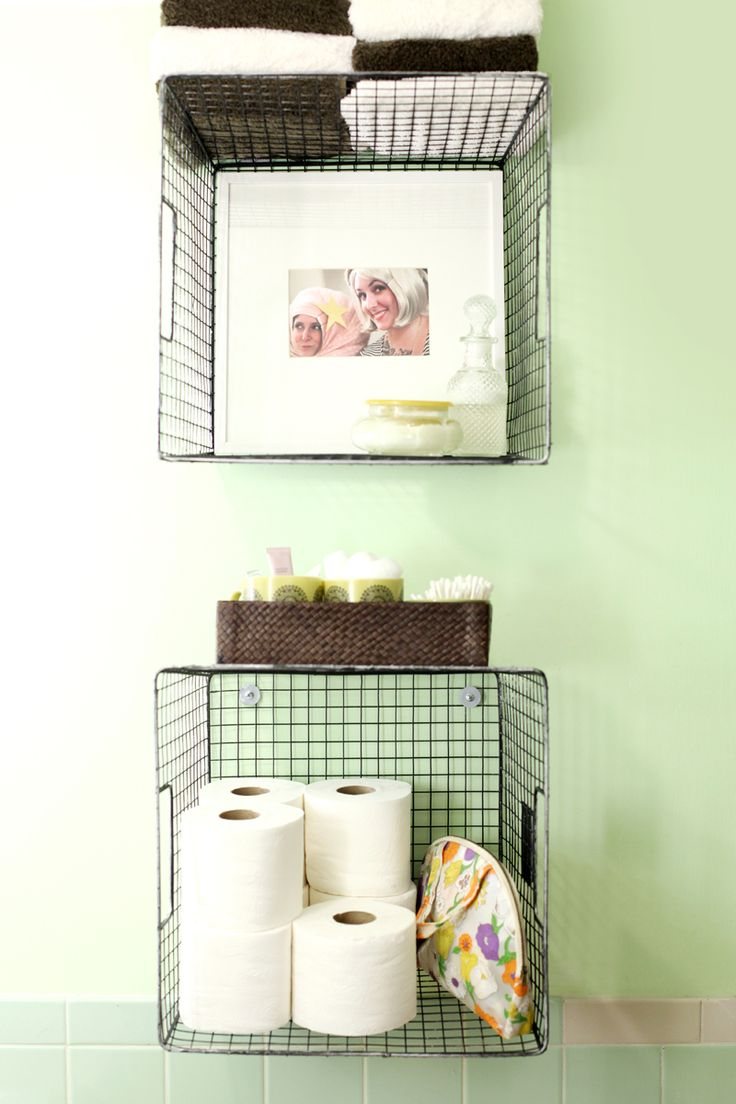 bathroom basket shelves