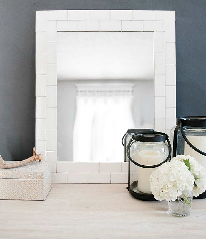 bathroom tile mirror