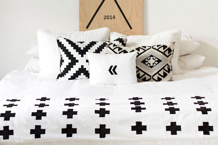 bedroom swiss cross blanket
