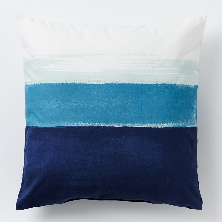 blue brushed pillow