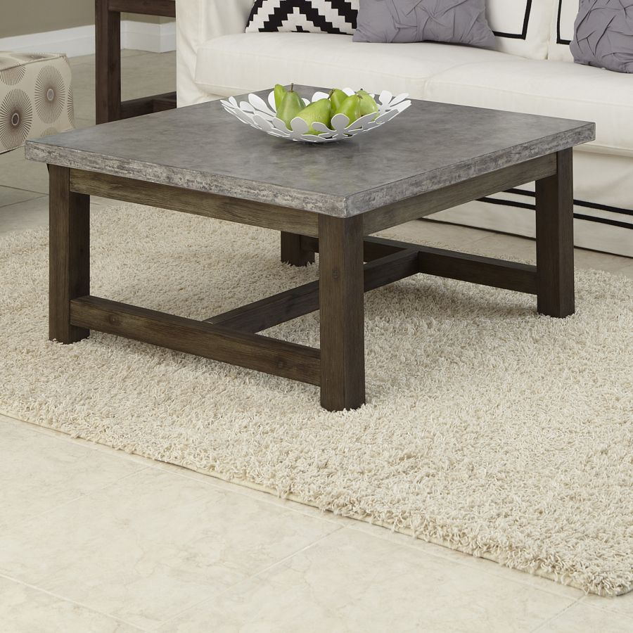 Concrete coffee tables you can buy or build yourself for Wood table top designs