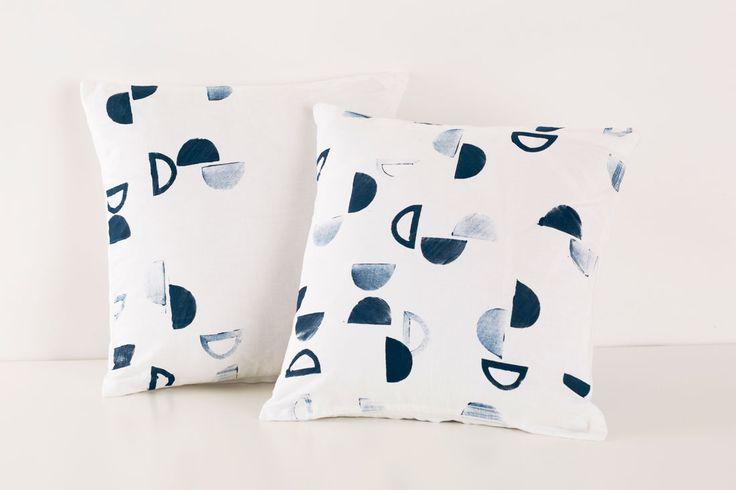 diy stamped pillows