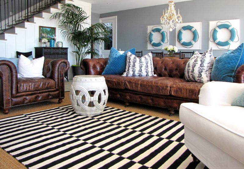 Living Room Decorating Ideas For Brown Furniture how to enhance a décor with a black and white striped rug
