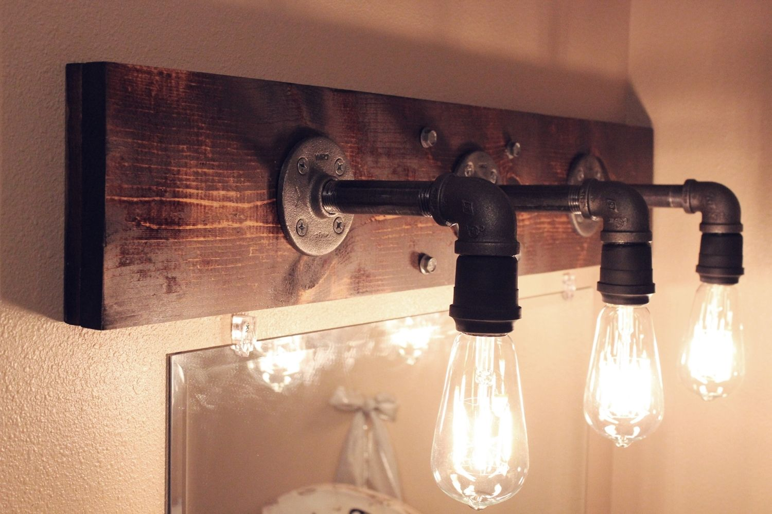 DIY Industrial Bathroom Light Fixtures - Wood bathroom light fixtures