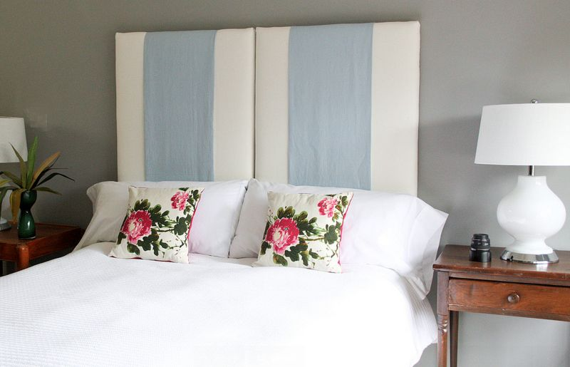 10 fabric headboard ideas for your bedroom slick stripes view in gallery heres another diy solutioingenieria Images