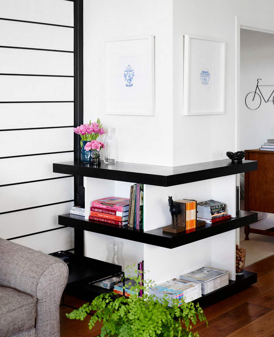 ideas for small attic space - How to Style Your Corner Shelving Systems