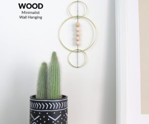 Wooden Beads and Brass Minimalist Wall Hanging