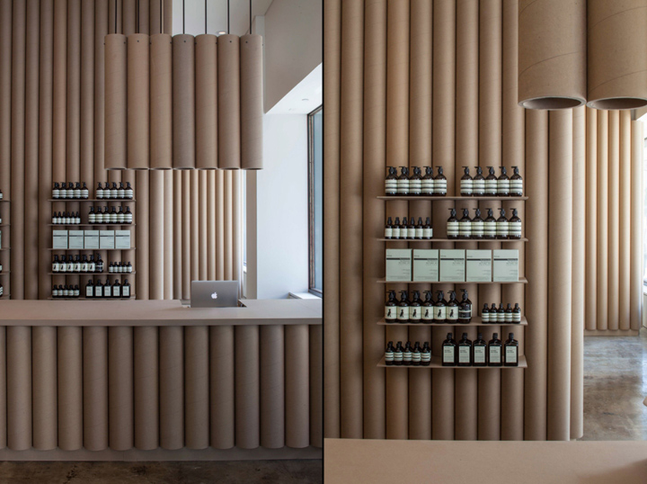 Aesop-store-cardboard-walls