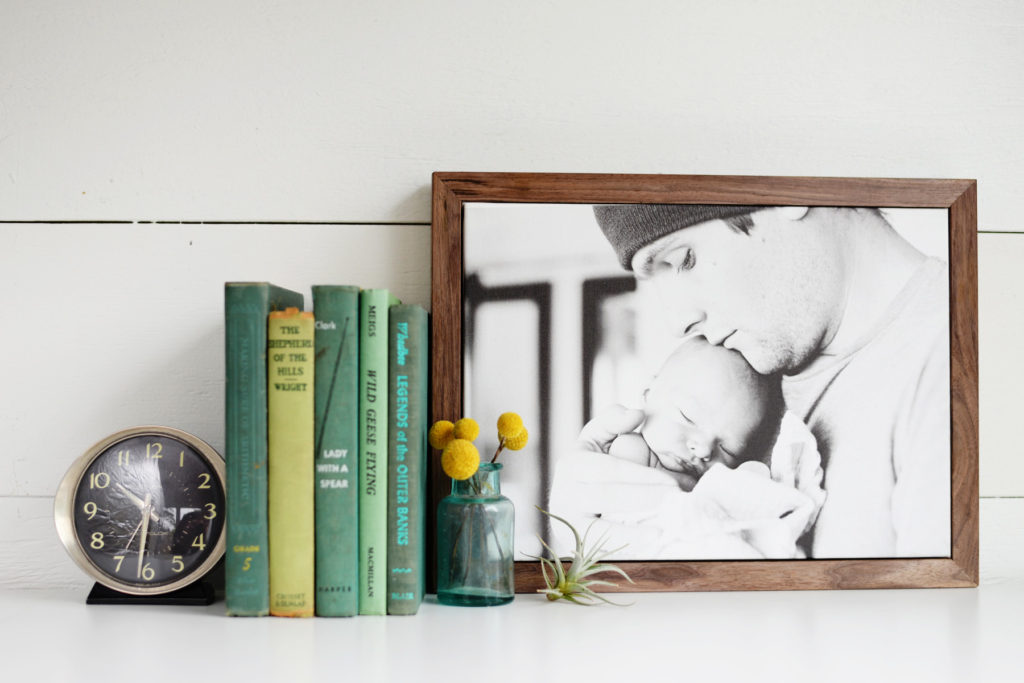DIY walnut framed canvas