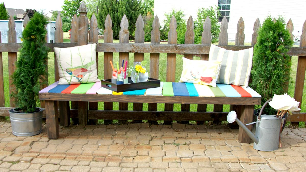 Pleasing How To Build A Colorful Garden Bench Using Pallets Pdpeps Interior Chair Design Pdpepsorg