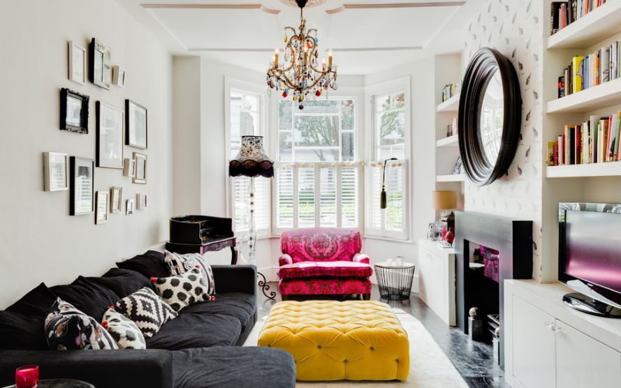Eclectic-narrow-Living-Room
