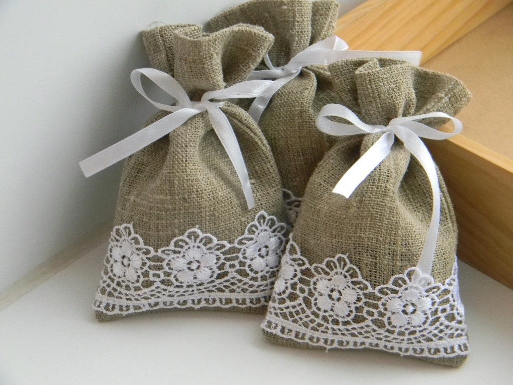 Handmade burlap satchels