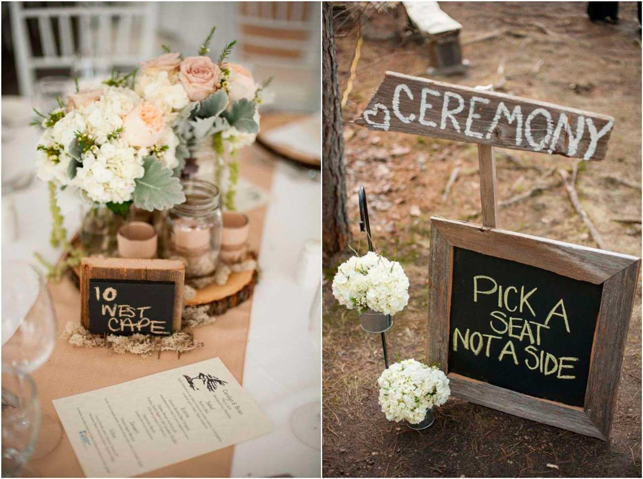 Simple Country Wedding Decorations Chalkboard