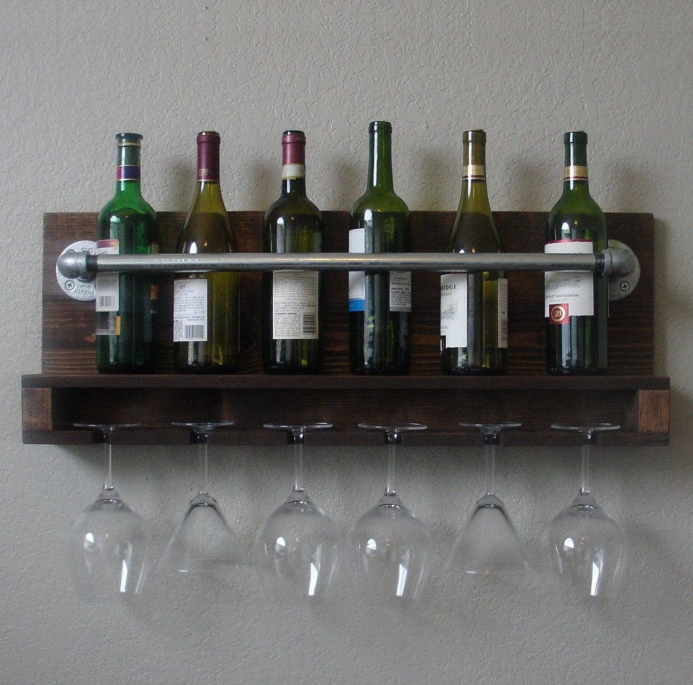 Wall Mount Wine Rack With 6 Gl Slot