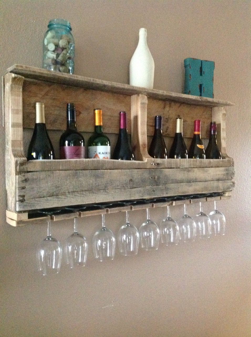 Another Rustic Pallet Wine Rack With Gles
