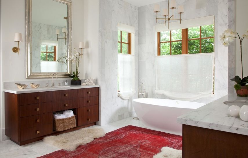 Thinking Outside The Box How To Decorate With Overdyed Rugs - Rug for bathroom
