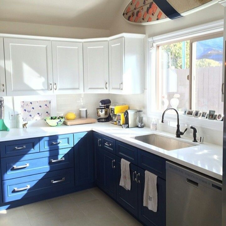 Two Tone Kitchen Cupboards Nautical