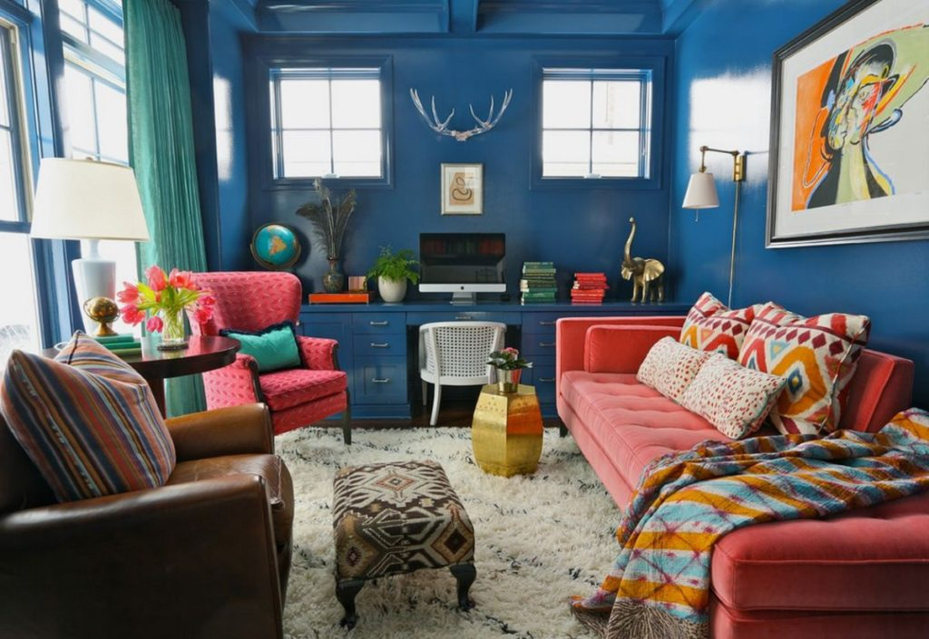 blue-walls-and-pink-sofa-and-chair