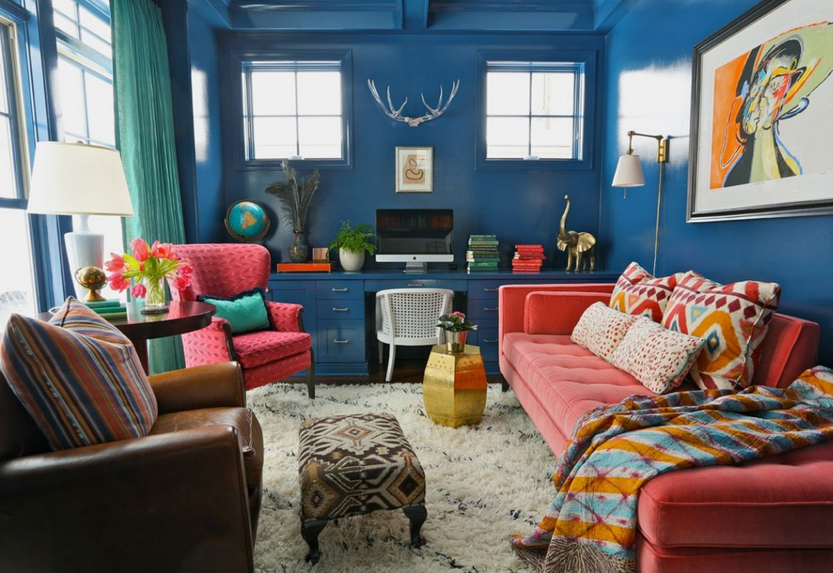 Blue Walls And Pink Sofa And Chair