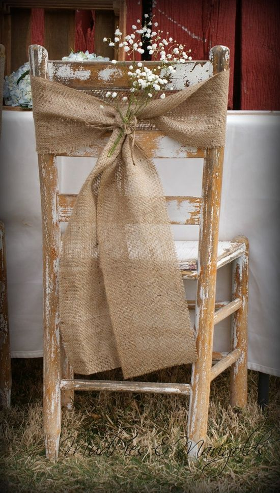Say i do to these fab 51 rustic wedding decorations burlap chair wedding decor junglespirit Choice Image