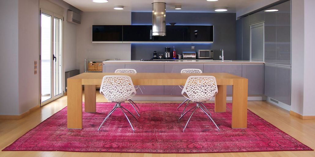 Awesome Contemporary Kitchen Room With Pink Overdyed Rug Part 27