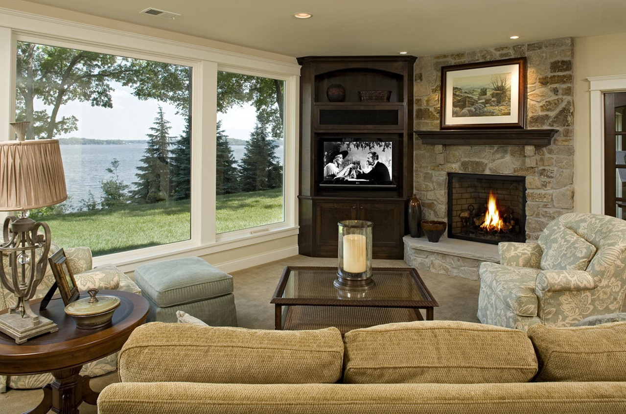 Corner TV And Fireplace