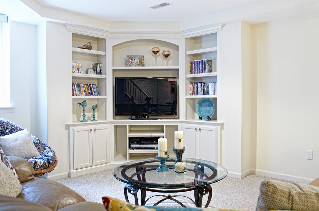 tv unit design ideas living room. corner TV unit with bookshelves When And How To Place Your In The Corner Of A Room