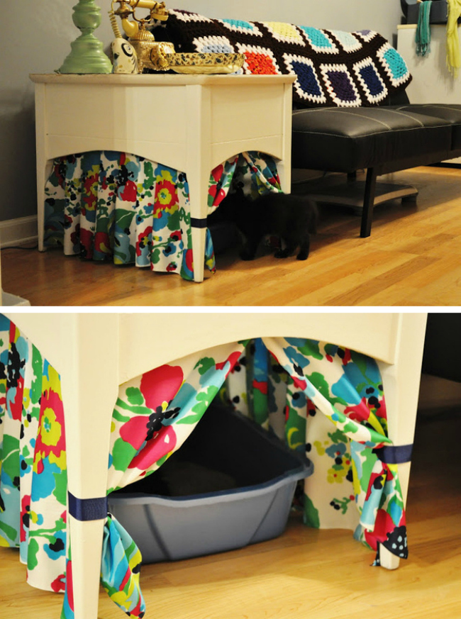 Elegant Curtained Litter Box