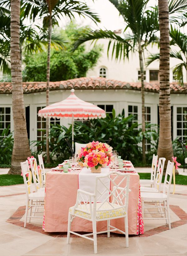 Cute Pink Outdoor Party Table
