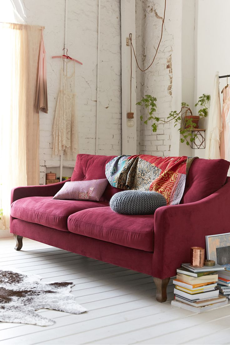 Dark Pink Sofa And Whitewashed Brick Walls
