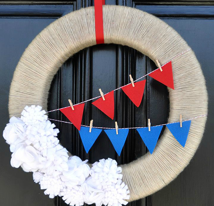 diy bunting wreath