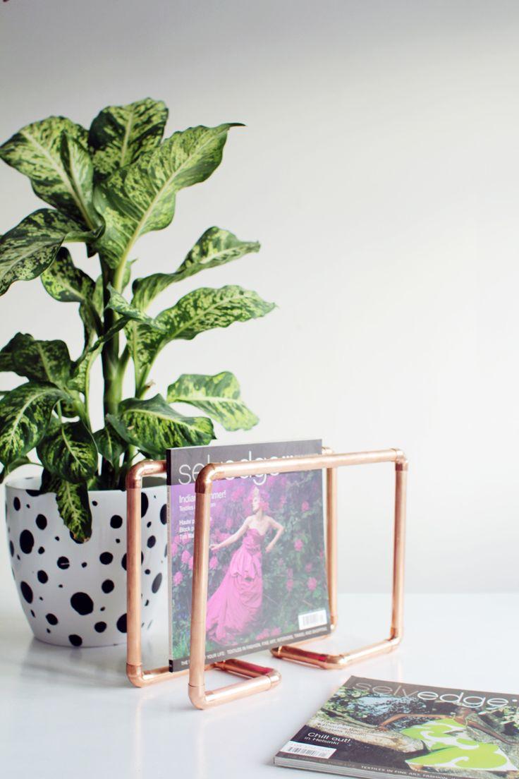 diy copper magazine holder