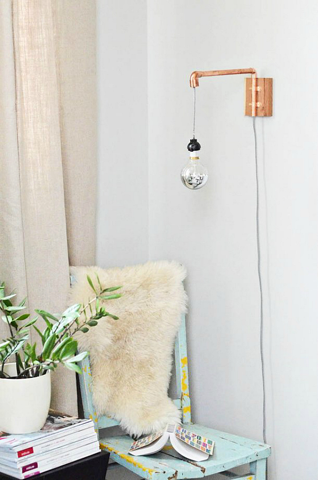 diy copper sconce