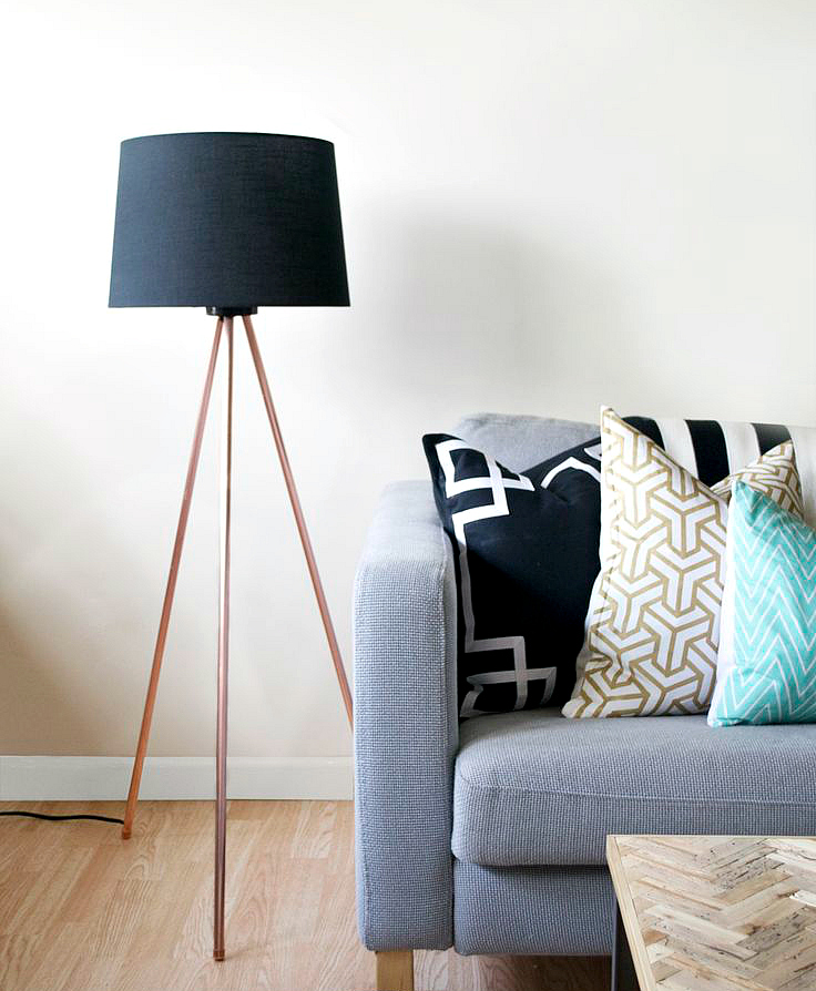 diy copper tri lamp