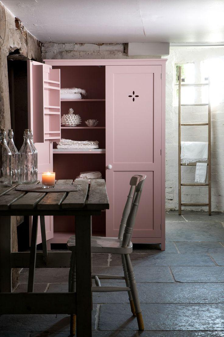 dusty pink linen closet