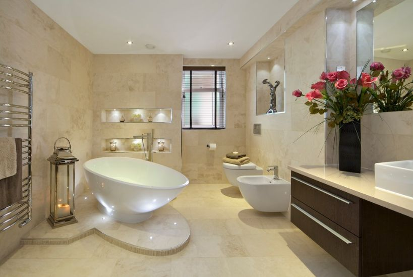 Fresh designs built around a corner bathtub for Beautiful toilet designs