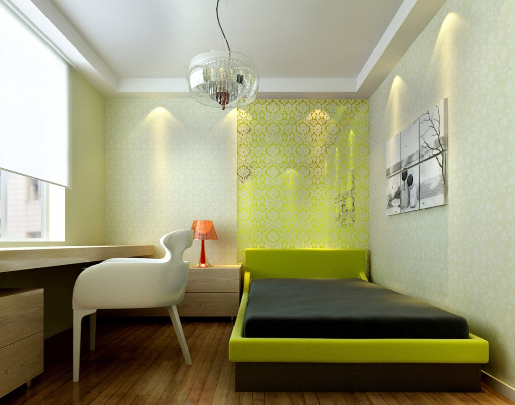 green-accents-for-minimalist-bedroom-prints