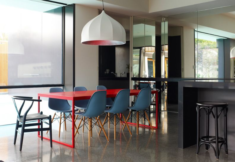 Gunmetal Dining Room Color With Red