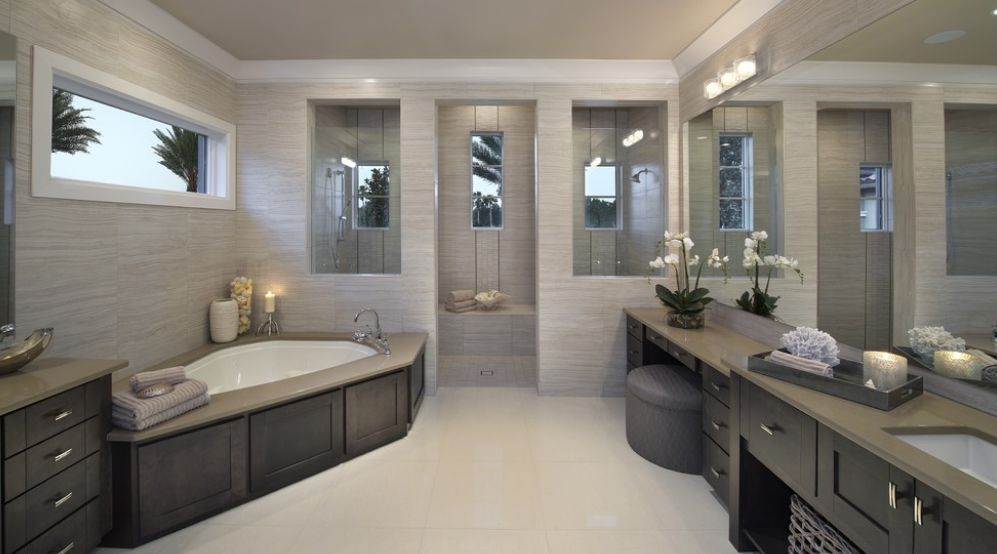Fresh designs built around a corner bathtub Large master bath plans