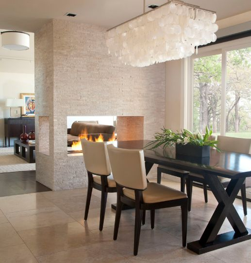 View In Gallery A Contemporary Scene This Fireplace Connects And Separates The Dining Living Room