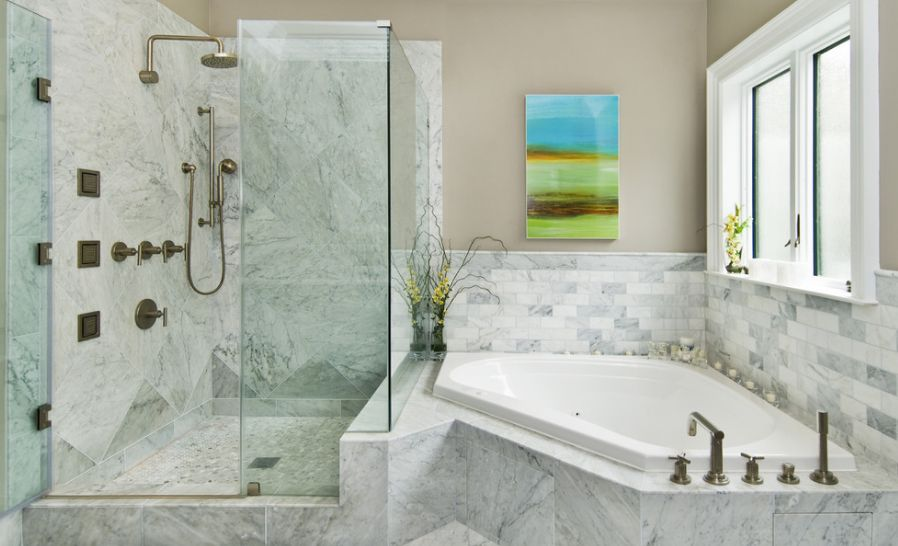 Build In Bathroom Design : Fresh designs built around a corner bathtub