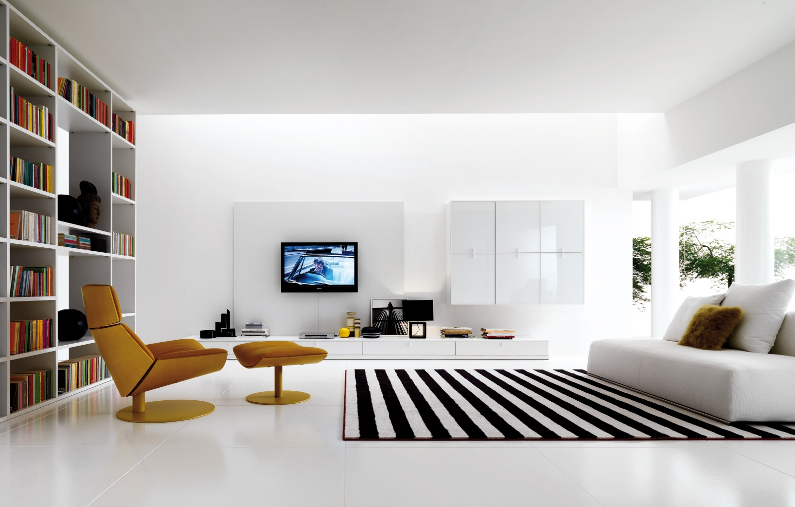 living furniture ideas. Modern-black-and-white-living-room-stripede-rug Living Furniture Ideas O