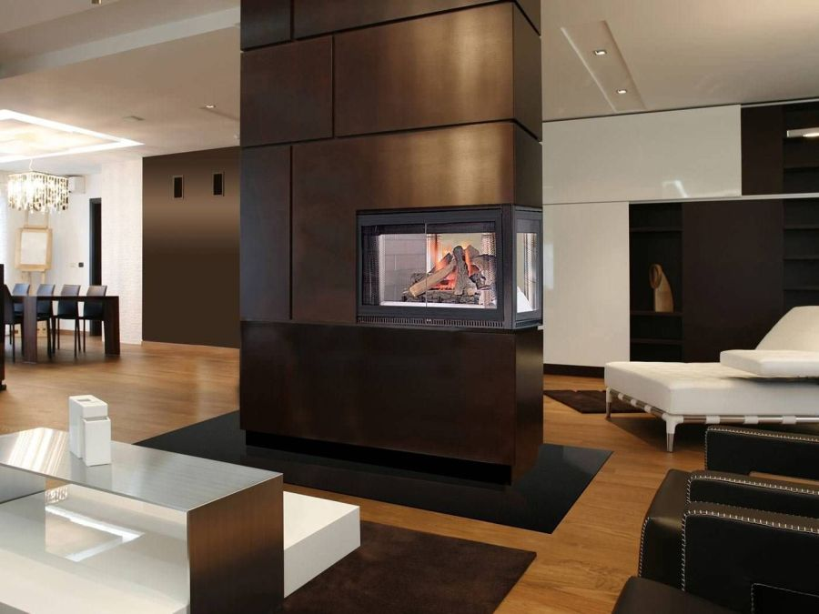 20 gorgeous two sided fireplaces for your spacious homes. Black Bedroom Furniture Sets. Home Design Ideas
