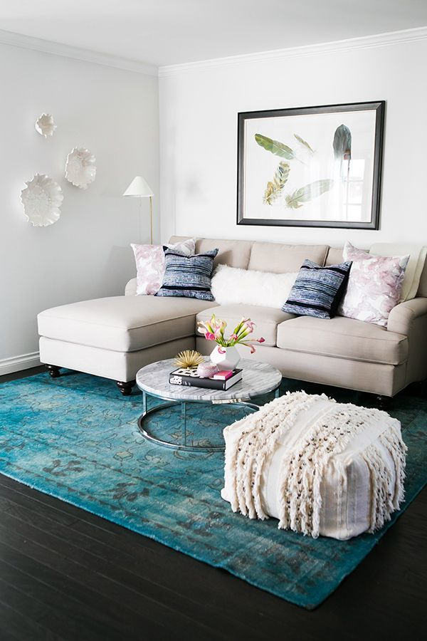 Neutral Sofa Blue Overdryed Rug