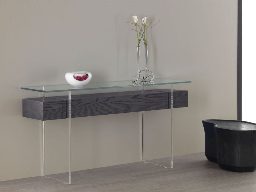 glass console tables why we love them and how to use them. Black Bedroom Furniture Sets. Home Design Ideas