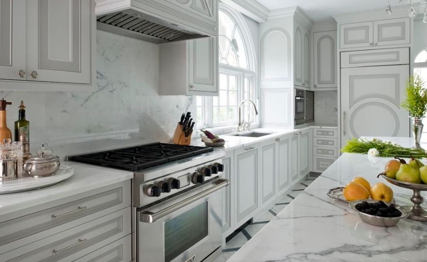 Outlined View In Gallery White Cabinets With A Gray